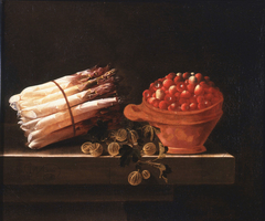 Asparagus, Gooseberries and Strawberries on a Stone Ledge