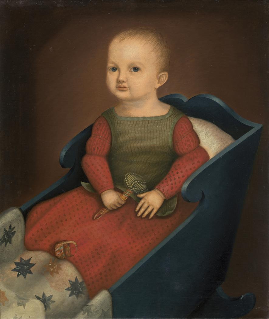 Baby in Blue Cradle