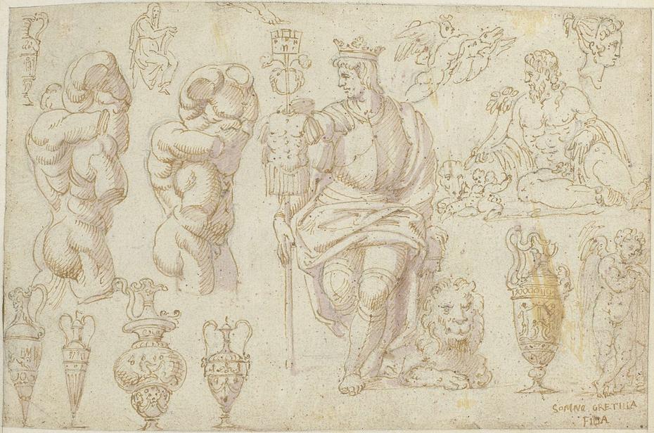 Beelden, een fresco en een tekening