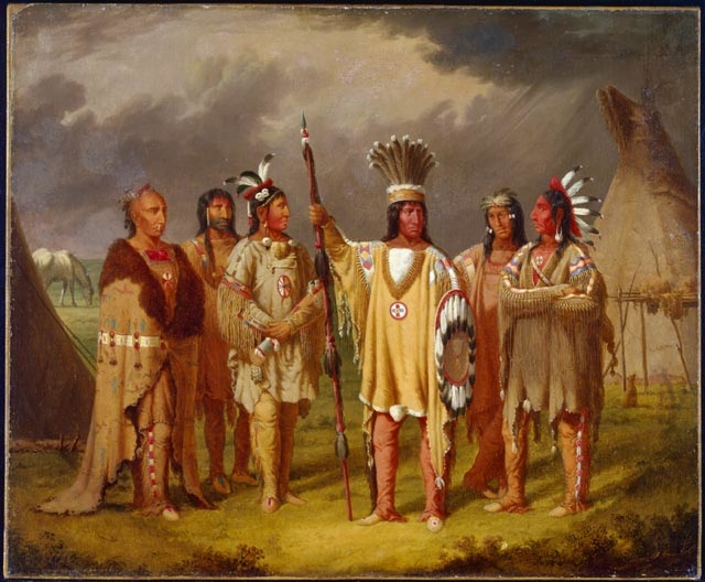 Big Snake, Chief of the Blackfoot Indians, Recounting his War Exploits to Five Subordinate Chiefs