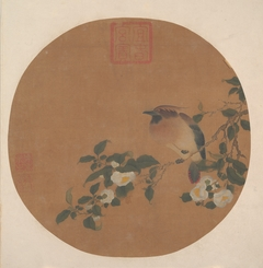 Branch of Tree with Flowers and Bird of Waxwing Family