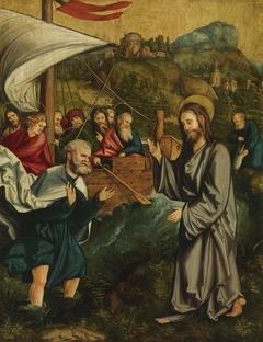 Christgartner Altar: Christus und Petrus am See Genezareth und Petrus, der den Zinsgroschen im Maul des Fisches findet