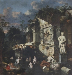 Classical Ruins with Diana and Nymphs Bathing