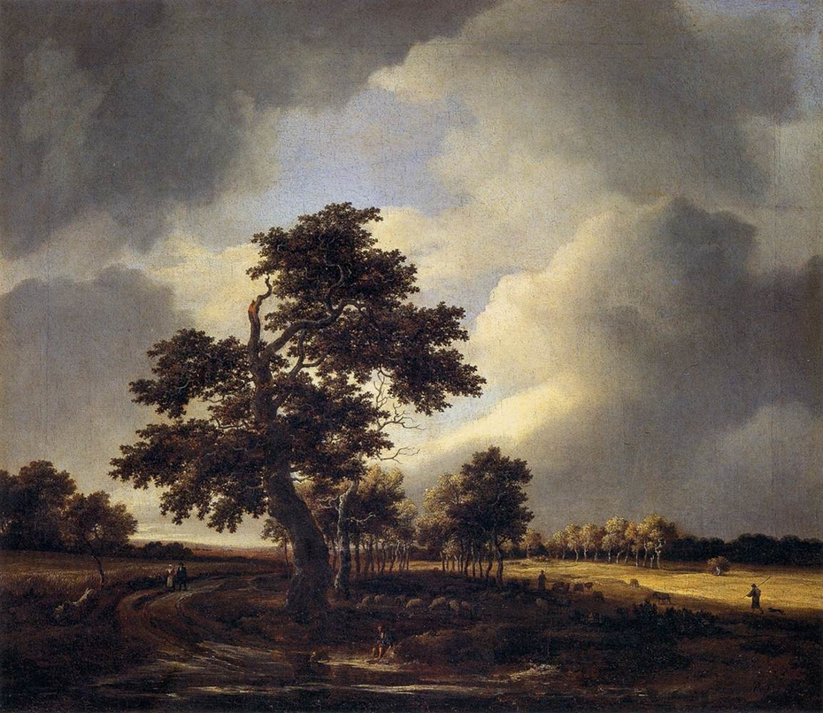 Country Road with Cornfields and Oak Tree