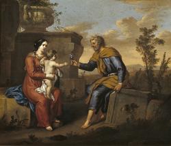 De heilige familie, gezeten in een klassiek landschap