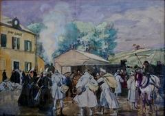 Départ des permissionnaires de la Grande Guerre à la gare de Pont-l'Abbé