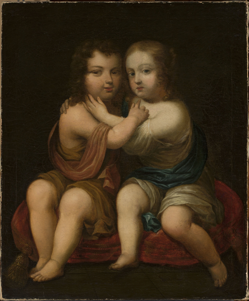 "Double portrait of Louis XIV with his ""milk sister"", Princess Henrietta"