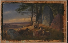 Evening Scene with Sheep on a Mound