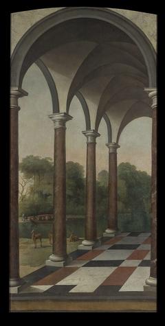 Galerij met uitzicht op een park