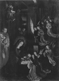 Geburt Christi (nach einem verlorenen Original von Hugo van der Goes) (Rückseite: Wappen) (Kopie nach)