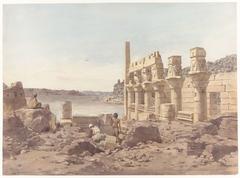 Gezicht op de tempelruïnes te Philae bij Aswan