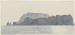 Gezicht op eiland Capri vanaf kust Kaap Minerva