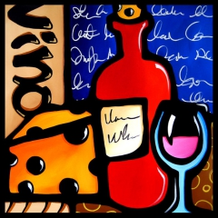 Good To Me - Original Abstract painting Modern pop Wine Art Contemporary by Fidostudio