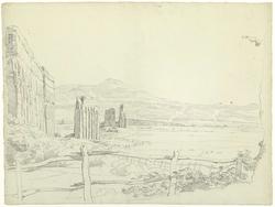 Het aquaduct van de Aqua Claudia, gezien naar de bergen