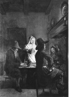 Interior with three men and a maidservant before a hearth