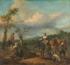 Italian landscape with figures