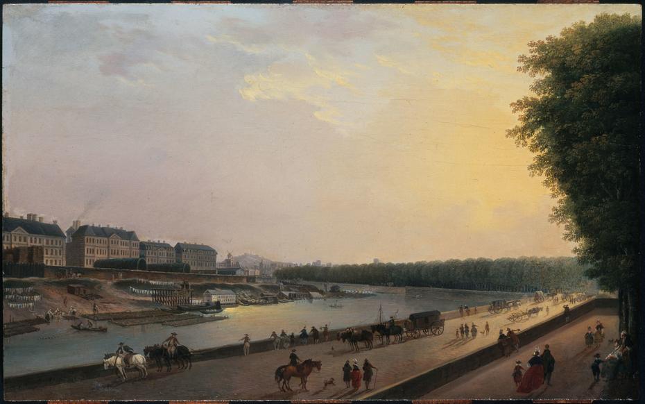 La Seine à la Grenouillère ; vue prise de la terrasse du bord de l'eau aux Tuileries