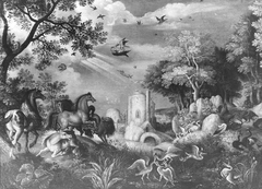 Landscape with Fighting Horses and Birds