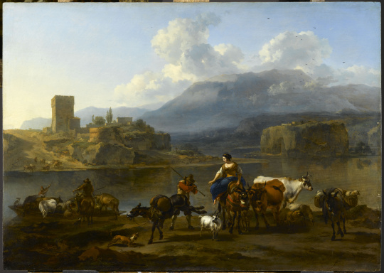 Landscape with shepherds and cattle crossing a river