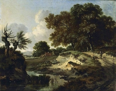 Landscape with two men in conversation on a track