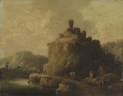 Landschaft mit einem Schloss auf einem Felskegel
