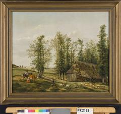 Landschap met een herder en zijn kudde bij een schaapskooi