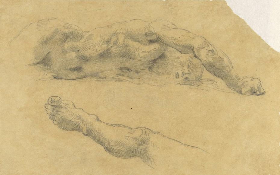 Liggende naakte man; zijn been nog eens afzonderlijk