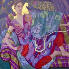 Lilac Odalisque with red fan