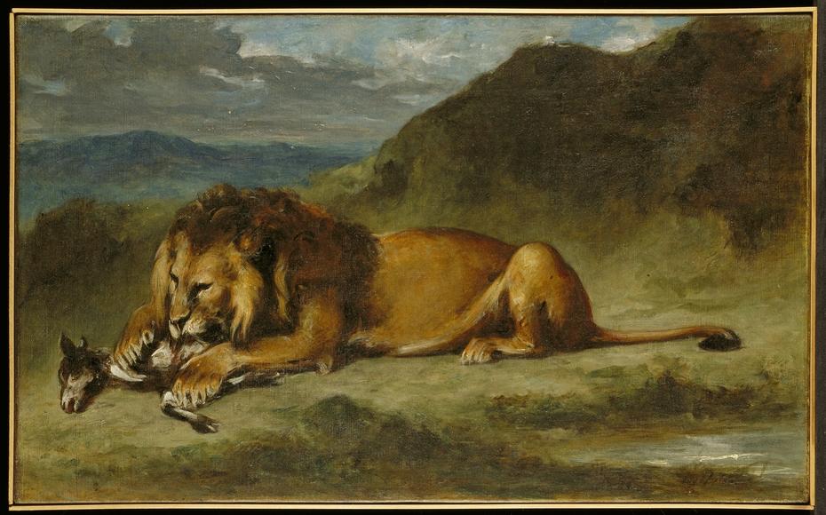 Lion Devouring a Goat