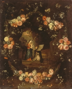 Madonna with the Child and St Ildephonsus Framed with a Garland of Flowers