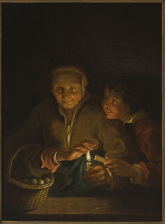 Old woman and a boy with a candle