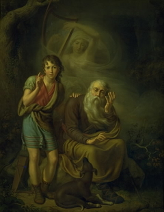 Ossian and Alpin's Son Hearing the Spirit of Malvina Touching the Harp. Illustrating Ossian's Swansong