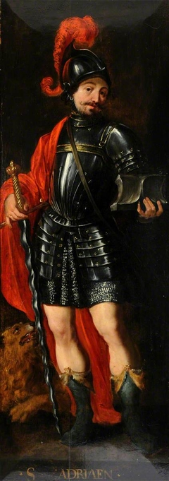 Part of a  Diptych (left): St Adriaen (recto); Four Male Donor Figures, dressed in Black with White Ruffs, praying (verso)