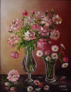 Pink Flowers in a Glass Vases