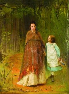 Portrait S.N. Kramskaya, the Artist's Wife and S.I. Kramskaya, Daughters of the Artist