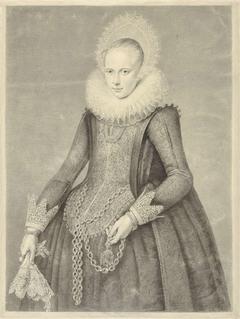 Portret van een vrouw met handschoenen en ketting met houder voor een bezoarsteen (?)