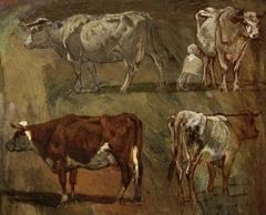 Quatre esquisses de vaches
