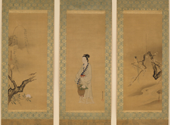 Reishō: Paragon of Filiel Piety; Chinese Blue Magpie with Flowering Plum; Sparrows, Willow, and Rose