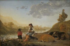 River Landscape with Bagpipe Player