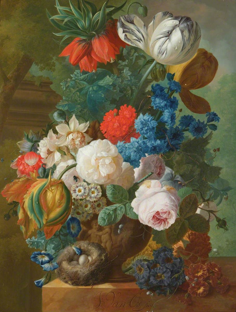 Roses, Tulips and Crown Imperial in a Vase with a Bird's Nest