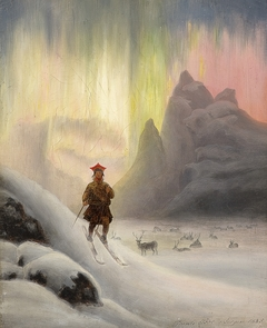 Sami on skis in northern lights