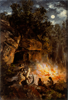 Scene from the Quaternary upper Paleolithic Period
