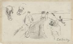 Schets van een landweg met een boer en koeienkoppen
