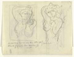 Schetsblad met twee naaktstudies op briefpapier van Roland Holst (als hoogleraar-directeur van de Rijksacademie van Beeldende Kunsten)
