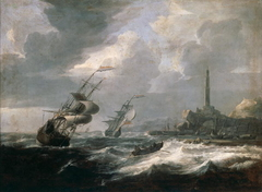 Seascape with lighthouse of Genoa