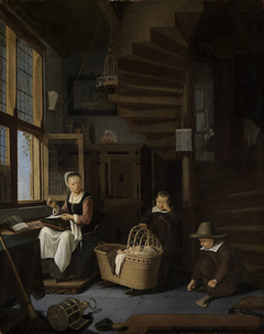 Sewing mother with two boys next to a cradle