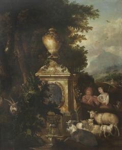 Shepherd and Shepherdess by a Fountain
