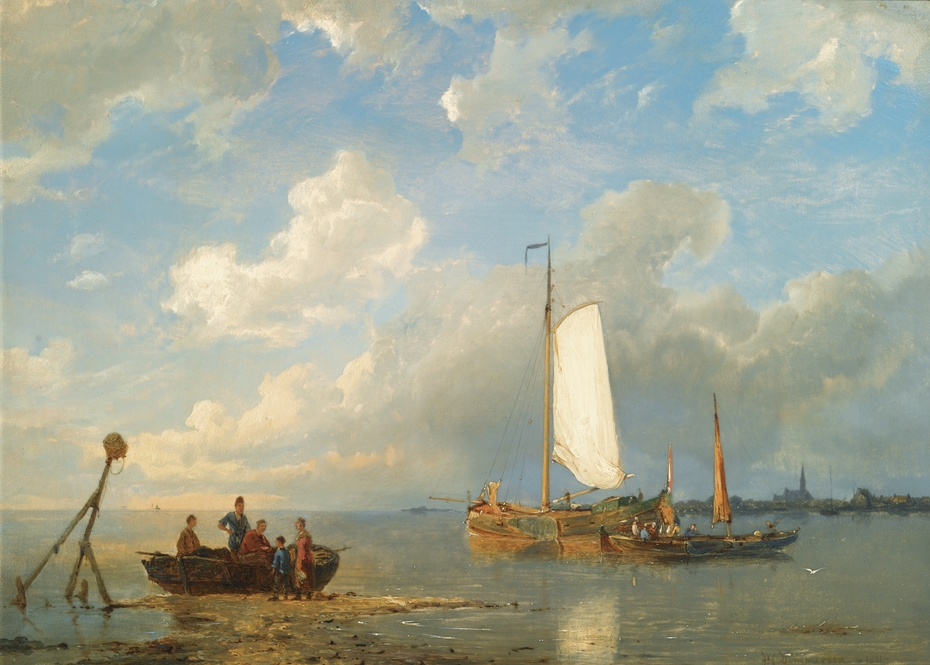 Shipping in a Dutch Estuary at Low Tide