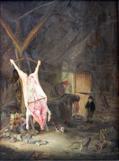 Slaughtered Pig in a Barn