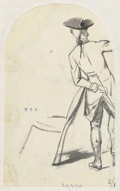 Staande jongeman, op de rug gezien (Ferdinand Huyck?)